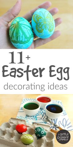 Easter egg decorating ideas for kids that are fun and creative. This list includes marbling, collage, sticker, melted crayon drawings, and more favorites!