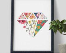 Imprimer de diamant ligne sticker, Diamond, Diamond Floral, floral design, décoration maison, design scandinave, dessin abstrait, art minimaliste