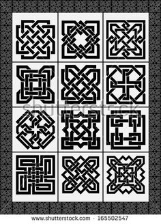 Set celtic traditional signs for a frame and design - vector
