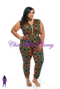 The Curvy Plus Model Janna Plus Model dazzles in our new jumpsuit, and you will too! Get this look at http://chicandcurvy.com/jumpsuits/product/9878-new-plus-size-jumpsuit-in-navy-orange-and-green-1x-2x-3x  Photographer: Lesley Pedraza Photography MUA: Make Me Blush - Makeup By Jillian Bianca Hair: Tiffany Brooks