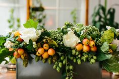 Wedding Flower Arrangements Wedding Flowers and Arrangements Filled with Hops: In Season Now Fruit Arrangements, Wedding Flower Arrangements, Floral Centerpieces, Wedding Centerpieces, Centrepieces, Wedding Decor, Tall Centerpiece, Wedding Ideas, Wedding Table