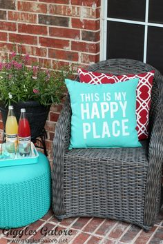 Fabulous Front Porch Makeover with DIY custom outdoor pillows made with World Market Aqua Throw Pillow #worldmarkettribe #worldmarketlove4outdoors ad