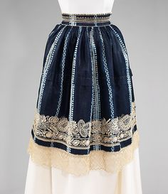 Apron Date: fourth quarter 19th century Culture: Czech (Moravian) Medium: cotton Dimensions: Length at CB: 25 in. (63.5 cm)