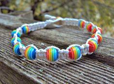 Gay Pride Bracelet Hemp Jewelry Bracelet Rainbow by JackZenHemp, $10.00