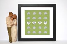 Paper Elephants Nursery Art- Green and Gray,  Paper Elephants, Framed Nursery Art, Baptism Gift, New Baby Gift, Baptism Gift, Adoption Gift