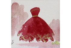 Red Gown w/ Gold Accent
