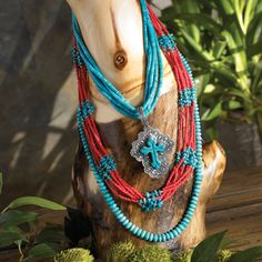 Red glass beads and turquoise. I love these colors together.
