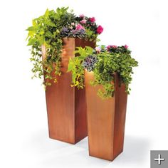 Love these copper planters. Would be pretty by the front door.