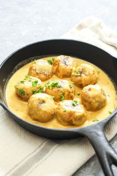 Low FODMAP Adobo Tempeh Meatballs with Chipotle Cream Sauce are a flavor packed gluten-free and vegan recipe! Flavor baked meatballs are combined with a luscious cream sauce for one flavor packed healthy meal. Serve it over rice or veggies for a complete dinner!   CatchingSeeds.com