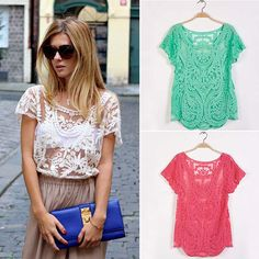 Women Blouse Spring Summer Fashion Crochet Lace Tops Hollow Out Lady Lace Shirt Lace Blouse