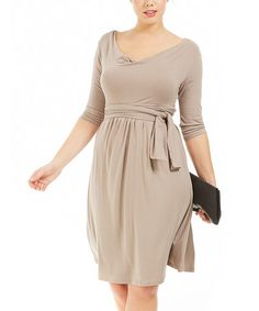 Taupe Drape Dress - Plus by Formidables by Scarlett on #zulily today!
