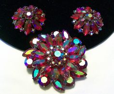 A personal favorite from my Etsy shop https://www.etsy.com/listing/204142023/juliana-jewelry-brooch-pin-earrings-red