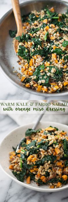 Warm Farro and Kale Salad with Orange-Miso Dressing! This vegan meal is super nourishing and healthy. A must make this winter! | www.delishknowledge.com