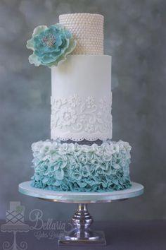Ombre petal ruffles wedding cake