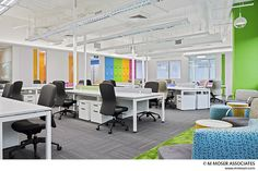 One of my projects - Pfizer. Open plan workspace with unassigned desking. Design by M Moser Associates