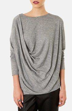 Topshop Long Sleeve Drape Top on shopstyle.com