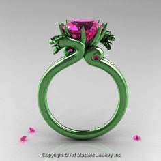 Art Masters 14K Green Gold 3.0 Ct Pink Sapphire by artmasters