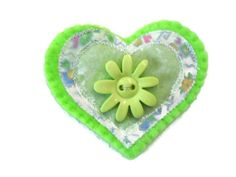Heart Brooch Green Jacket Pin Womens Accessory. by Fabrilushus