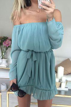Off-The-Shoulder Long Sleeve Azure Dress