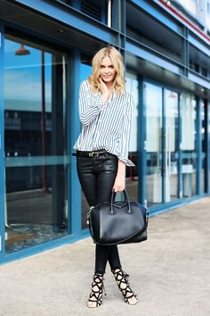 leather trousers with striped shirt