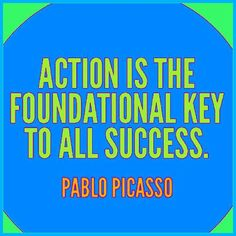 Action NOT knowledge is the foundational key to all success. - #picasso  You don't need to know anything in order to take action. #Action is the only way results will be produced not by consuming #knowledge.  #quote #quotes #quoteoftheday #sucessquotes #success #results