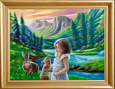 """'""""I love you💝Please don't eat my mommy"""" painted by Jean Cathcart. 😘😘😘❤️❤️❤️❤️🐇🐇🐇🐇🐇 Wishing everyone to have a wonderful day today!!!' created in #neybers"""