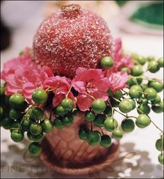 Pink & Green- sugared pomegranate, china berries(soap berries), small pink flowers of choice