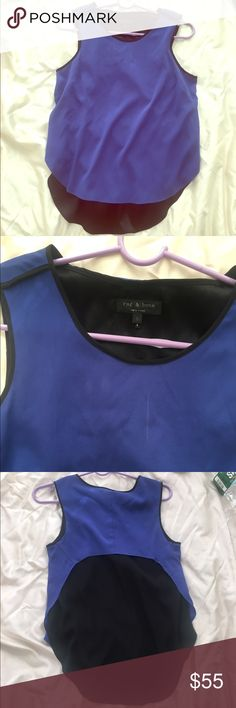 RAG&BONE SILK TWO TONE TOP Gorgeous Rag & Bone 95% silk top 5% Lycra. Slit up sides. Size small. Has little drink stain near neck in second picture just needs a dry cleaning! price reflects that :) rag & bone Tops