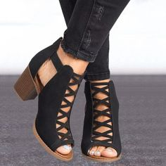 2020 Fashion Sexy Fish Mouth Hollow Roman Sandals Thick with Beaded Hi – Amozae Ankle Shoes, Ankle Strap Heels, Ankle Straps, Strap Sandals, Pumps Heels, Heeled Sandals, Nude Heels, Ankle Booties, Wedge Sandals