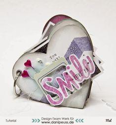 Istruzioni per un semplice mini-album per San Valentino con forme di timbratura di Mel per www.danipeuss.de