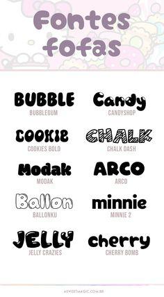 10 Fontes Fofas para usar Gratuitamente! Aesthetic Fonts, Aesthetic Template, Lettering Tutorial, Simbolos Para Nicks, Overlays Cute, Font Packs, Cute Fonts, Pretty Notes, Cricut Fonts