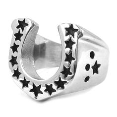 Stainless steel jewelry ring Journey Star Lucky Horseshoe Medallion Ring SWR0028