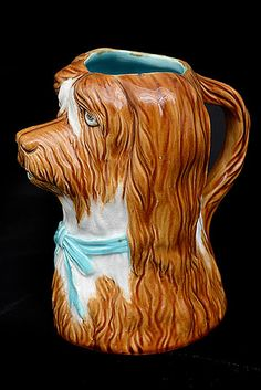 French Majolica Dog with Blue Ribbon Pitcher