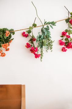 Hanging flowers as wall decor