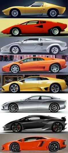 Evolution of Lamborghini (From top to bottom) Lamborghini Miura Bertone P400 Lamborghini Countach LP 400 Lamborghini Countach LP 400 25th Anniversary Lamborghini Diablo VT Lamborghini Murciélago LP 640 Lamborghini Estóque Concept Lamborghini Sesto Elemento Prototype Lamborghini Aventador LP 700-4