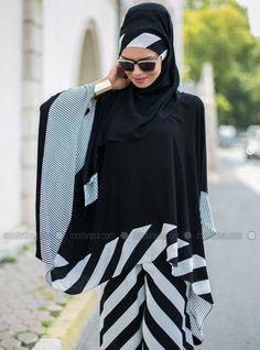 Stripe Asymmetric Tunic - Black - Tuva By Burcu Aslan