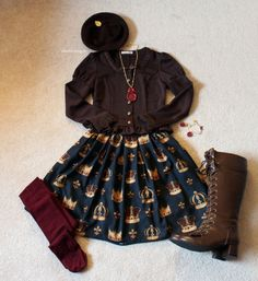 Otome outfit featuring indie brand Peppermint Fox. //  Bolero: Innocent World Skirt: Peppermint Fox 'Crowning Glory' Jewelry: Angelic Pretty Boots: Bodyline Tights and Beret: Offbrand (ebay) // THIS BLOG IS AMAZING!!