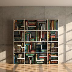 Really take a look at this bookcase.  The books are stacked inside each grid horizontally and vertically.  So cool!