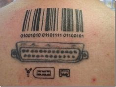 Geek tattoos or Nerd tattoos come in many forms but we think this is one of the most geek or nerd tattoo outstanding ink we have seen: Nerdy Tattoos, Cool Tattoos, Awesome Tattoos, Geeks, Cyborg Tattoo, Barcode Tattoo, Tattoos With Meaning, Arm Band Tattoo, Tattoo Images