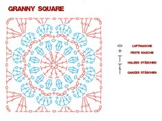 Transcendent Crochet a Solid Granny Square Ideas. Inconceivable Crochet a Solid Granny Square Ideas. Motifs Granny Square, Crochet Square Patterns, Crochet Motifs, Crochet Diagram, Crochet Stitches Patterns, Crochet Chart, Crochet Squares, Crochet Doilies, Crochet Flowers