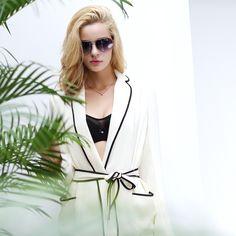 Woemen Fashion Spring and Summer Female Suit Collar Belt Sleepwear Pajama Sets with Pj Pants Loungewear Sleepwear Nightwear
