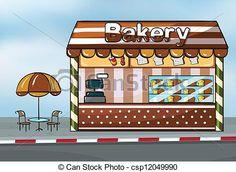 Vector - Panadería, fachada. Stock de ilustracion, ilustracion libre de, stock de iconos de clip art, logo, arte lineal, retrato de EPS, Retratos, gráficos, dibujos gráficos, dibujos, imágenes vectoriales, trabajo artístico, Arte Vectorial en EPS