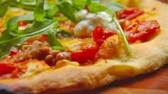 Make your own homemade Wood Fired Pizza with Gary's easy Pizza recipe using tomato sugo, mozzarella and spicy sausage. Pizza Recipes, Cooking Recipes, Yummy Recipes, Dessert Recipes, Recipe Using Tomatoes, Masterchef Recipes, Masterchef Australia, Fire Pizza, Spicy Sausage