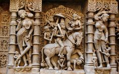 Rani Ki Vav (the Queen's Stepwell) in Patan, Gujarat, India - The corridor walls, pillared pavilions and inner side of well are embellished with fine sculptures. Nearly 400 sculptures have survived out of the original estimated 800 sculptures, which comprise of Hindu gods and goddesses, apsaras and miscellaneous themes.