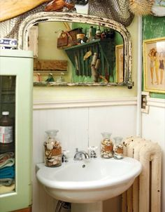 Vintage bathroom -  I remember those old time radiators - they would get very hot.