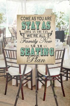 Who needs a seating plan when were are all friends! love this sign for my wedding to let guests know to just grab a seat at the reception! No Seating Plan Wedding Sign with Custom by DesignerCanvases, $17.00
