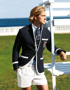 Ellis, Crested trimmed Blazer, 2013. Great outfit, except shorts; it doesn't matter what tradition says, shorts with blazer look just ridiculous.