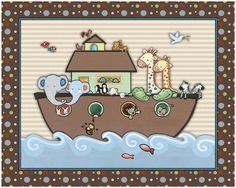 Noah's Ark Nursery Art print.  Made to Match by LittlePigStudios