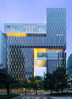 W Hotel & Residences, Guangzhou // Rocco Design Architects // Photo: Liky Lam Hotel Architecture, Commercial Architecture, Futuristic Architecture, Building Exterior, Building Facade, Building Design, W Hotel, Glass Building, Facade Lighting