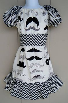 Wheres My Stache Peasant style dress size by ThisNThatByNicolette,